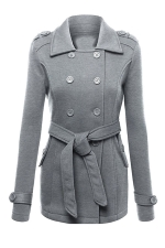 Womens Turndown Collar Double-breasted Sash Design Coat Gray