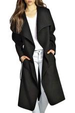 Womens Turndown Collar Plain Sash Long Trench Wool Coat Black
