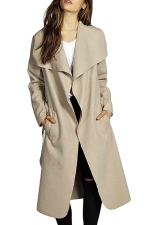 Womens Turndown Collar Plain Sash Long Trench Wool Coat Khaki