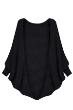 Womens Plain Batwing Long Sleeve Loose Cardigan Outwear Black