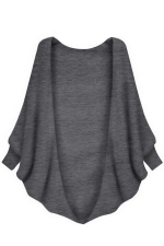 Womens Plain Batwing Long Sleeve Loose Cardigan Outwear Gray