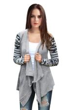 Womens Geometric Printed Sleeve Asymmetric Cardigan Blazer Black
