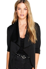 Womens Turndown Collar Long Sleeve Plain Blazer Black