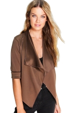 Womens Turndown Collar Long Sleeve Plain Blazer Khaki