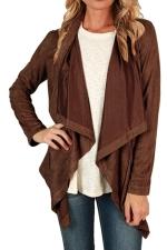 Womens Asymmetric Faux Suede Long Sleeve Plain Blazer Brown