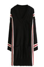 Womens V Neck Striped Pockets Long Sleeve Sweater Dress Black