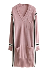 Womens V Neck Striped Pockets Long Sleeve Sweater Dress Pink