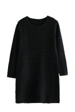 Womens Loose Crewneck Long Sleeve Plain Sweater Dress Black