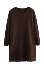 Womens Loose Crewneck Long Sleeve Plain Sweater Dress Brown