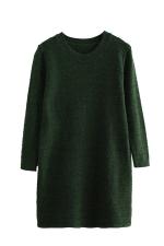 Womens Loose Crewneck Long Sleeve Plain Sweater Dress Green