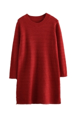 Womens Loose Crewneck Long Sleeve Plain Sweater Dress Red
