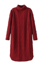Womens Turtleneck Cable Knitted Long Sleeve Sweater Dress Red