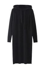 Womens Drawstring Hooded Long Sleeve Side Slit Sweater Dress Black