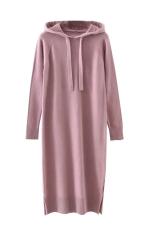 Womens Drawstring Hooded Long Sleeve Side Slit Sweater Dress Pink