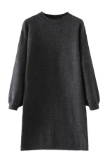 Womens Crewneck Puff Long Sleeve Plain Sweater Dress Black