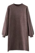 Womens Crewneck Puff Long Sleeve Plain Sweater Dress Coffee