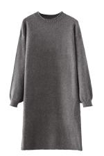 Womens Crewneck Puff Long Sleeve Plain Sweater Dress Gray