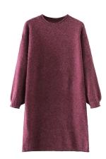 Womens Crewneck Puff Long Sleeve Plain Sweater Dress Ruby