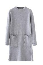 Womens Crewneck Pockets Sides Fringed Long Sleeve Sweater Dress Gray