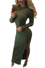 Womens Crochet Long Sleeve Side Slit Maxi Dress Army Green