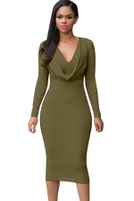 Womens V Neck Plain Draped Long Sleeve Midi Dress Army Green