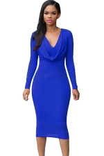 Womens V Neck Plain Draped Long Sleeve Midi Dress Sapphire Blue
