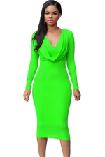 Womens V Neck Plain Draped Long Sleeve Midi Dress Green
