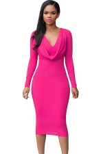 Womens V Neck Plain Draped Long Sleeve Midi Dress Rose Red