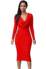 Womens V Neck Plain Draped Long Sleeve Midi Dress Red