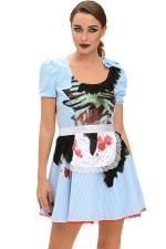 Womens Printed Zombie Halloween Maid Costume Blue