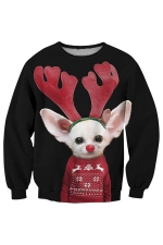 Womens Christmas Antler Mouse Printed Pullover Sweatshirt Dark Red
