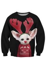 Womens Christmas Antler Mouse Printed Pullover Sweatshirt Dark Red