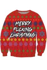 Womens Christmas Snowflake Printed Pullover Sweatshirt Red