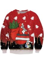 Womens Christmas Santa Printed Pullover Sweatshirt Ruby