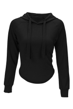 Womens Long Sleeve Plain Crop Drawstring Hoodie Black
