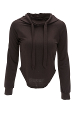 Womens Long Sleeve Plain Crop Drawstring Hoodie Coffee