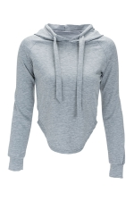 Womens Long Sleeve Plain Crop Drawstring Hoodie Gray