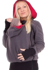 Womens Long Sleeve Zip-up Multifuntional Baby Carrier Hoodie Dark Gray
