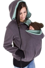 Womens Long Sleeve Zip-up Multifuntional Baby Carrier Hoodie Gray