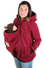 Womens Long Sleeve Zip-up Multifuntional Baby Carrier Hoodie Ruby