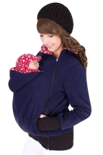 Womens Long Sleeve Zip-up Multifuntional Baby Carrier Hoodie Navy Blue
