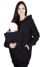 Womens Multifuntional Baby Carrier Long Sleeve Zip Up Hoodie Black