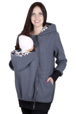 Womens Multifuntional Baby Carrier Long Sleeve Zip Up Hoodie Gray