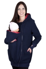 Womens Multifuntional Baby Carrier Long Sleeve Zip Up Hoodie Navy Blue