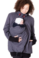 Womens Long Sleeve Baby Carrier Hooded Trench Coat Gray