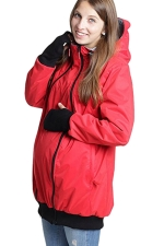 Womens Long Sleeve Baby Carrier Hooded Trench Coat Red