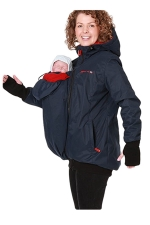 Womens Long Sleeve Baby Carrier Hooded Trench Coat Navy Blue