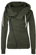 Womens Oblique Side Zipper Long Sleeve Plain Hoodie Army Green