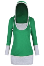 Womens Color Block Patchwork Long Sleeve Drawstring Hoodie Green