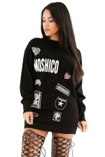 Womens Letter Printed Crewneck Long Sleeve Pullover Sweatshirt Black